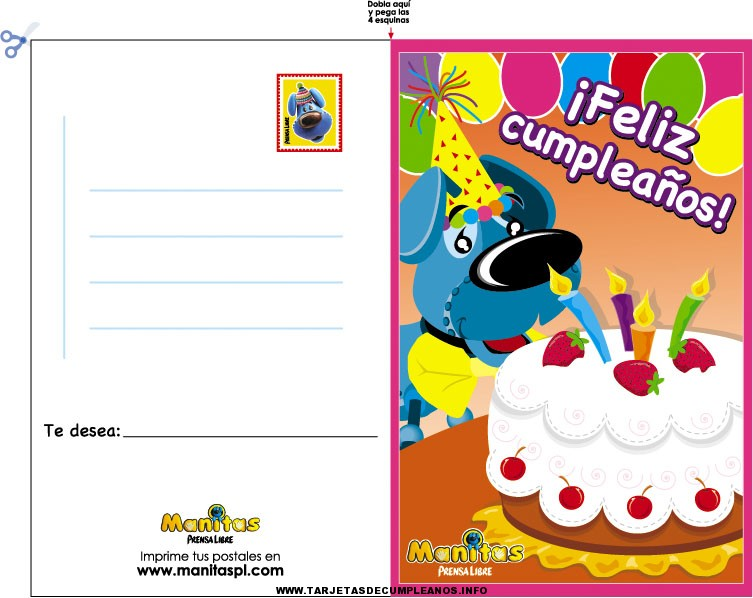 Tarjetas de cumpleaños para rellenar