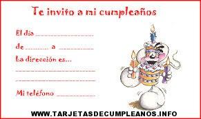 tarjetas invitacion de cumpleaños