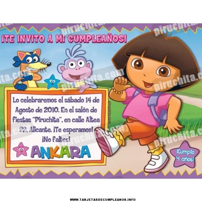 Imprimir tarjeta de cumpleaños de Dora
