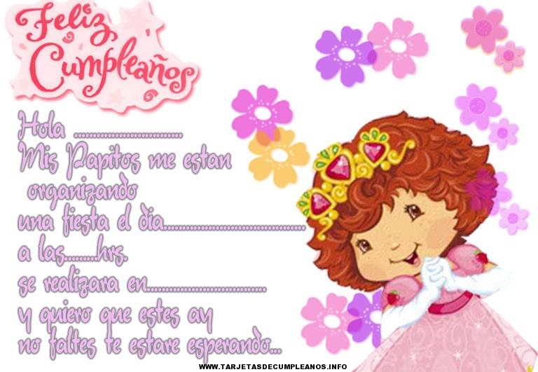 Tarjeta de cumpleaños bonitas de niñas