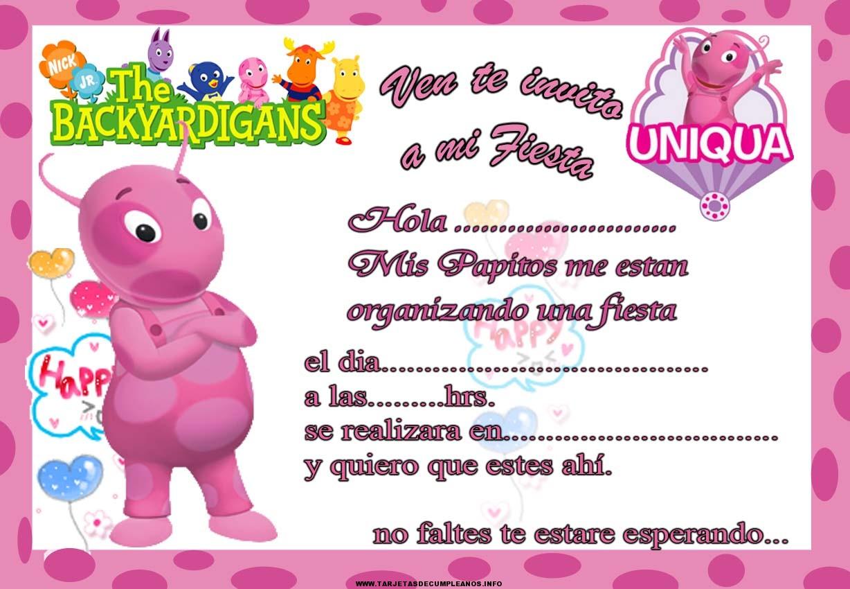 Imprimir tarjeta de cumpleaños de Backyardigans Uniqua
