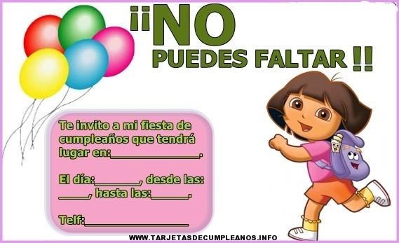 Tarjeta de cumpleaños de Dora para imprimir