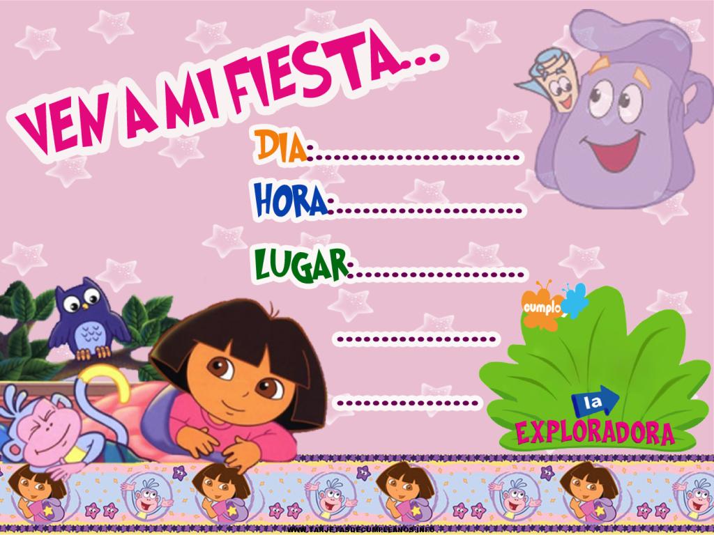Tarjetas de cumpleaños de Dora la exploradora para editar