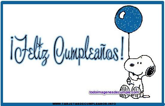 Tarjetas gratis de Snoopy de cumpleaños