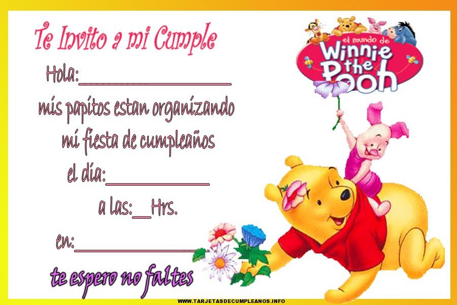 Dibujos de Winnie Pooh para tarjeta de cumpleaños