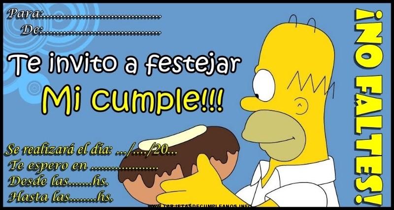 Tarjeta de cumpleaños con dibujos de los Simpsons