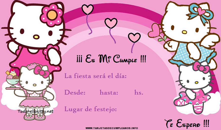 Tarjeta de cumpleaños con fondo de Hello Kitty
