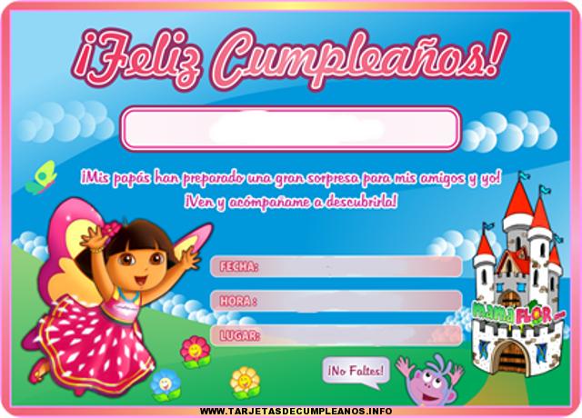 Tarjetas de cumpleaños con Dora la exploradora