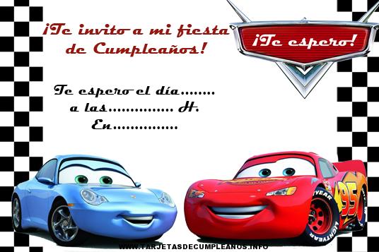 Imprimir tarjetas de cumpleaños de Cars gratis