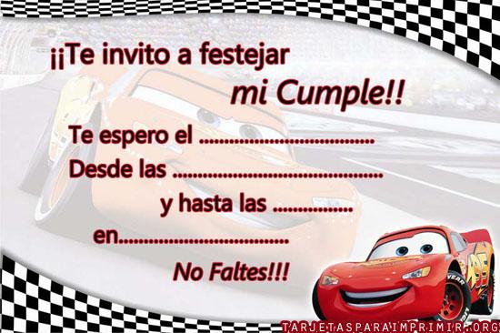 Tarjetas gratis de cumpleaños de Cars