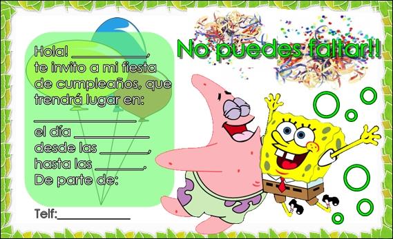 Tarjetas de cumpleaños de Bob Esponja para imprimir