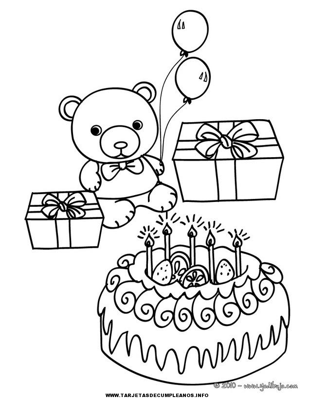 Lujoso Tarjetas De Cumpleaños Para Colorear Imprimible Ilustración ...