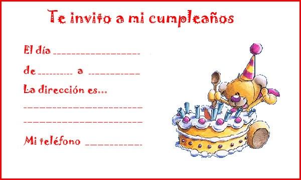invitaciones de cumpleanos infantiles 7 osito y tarta