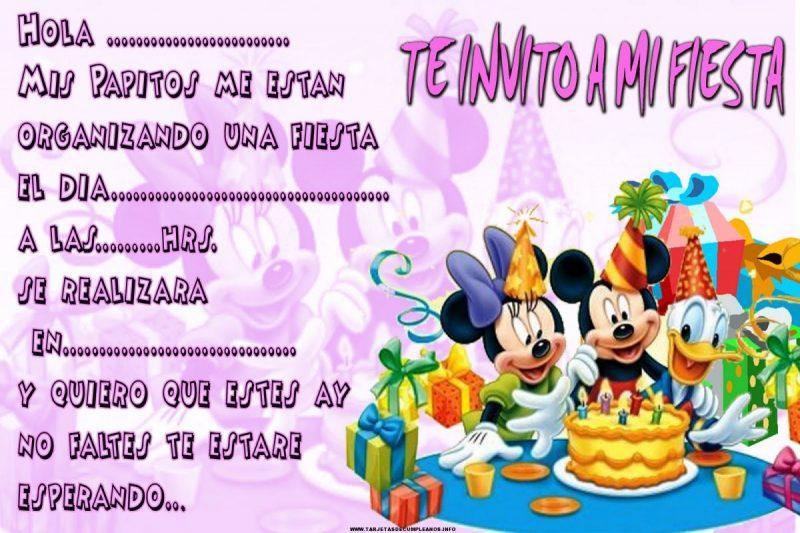 tarjetas de cumpleaños de mickey mouse 1 - te invito a mi fiesta