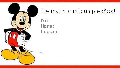 tarjetas de cumpleaños de mickey mouse 2 - te invito a mi cumpleaños