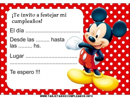 tarjetas de cumpleaños de mickey mouse 3 - te invito a festejar mi cumpleaños