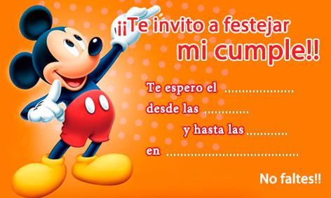 tarjetas de cumpleaños de mickey mouse 8 - te invito a festejar mi cumple