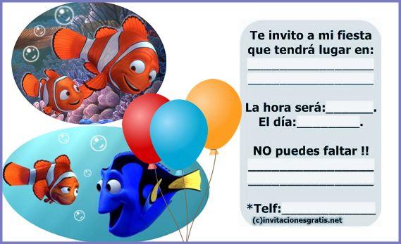 tarjetas de cumpleaños de nemo 4 - invitacion