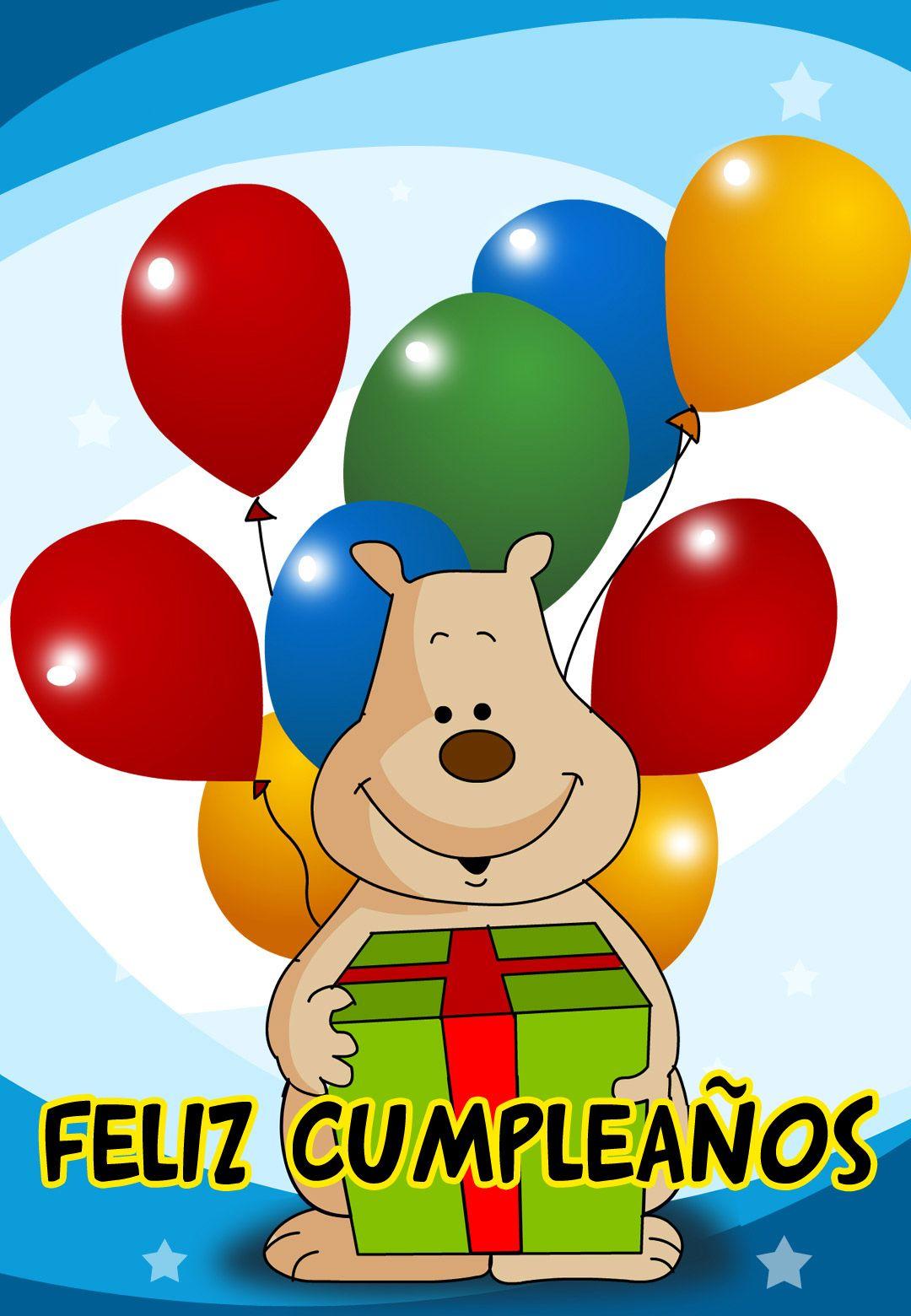 tarjetas de cumpleanos infantiles 1 feliz cumpleanos osito con globo