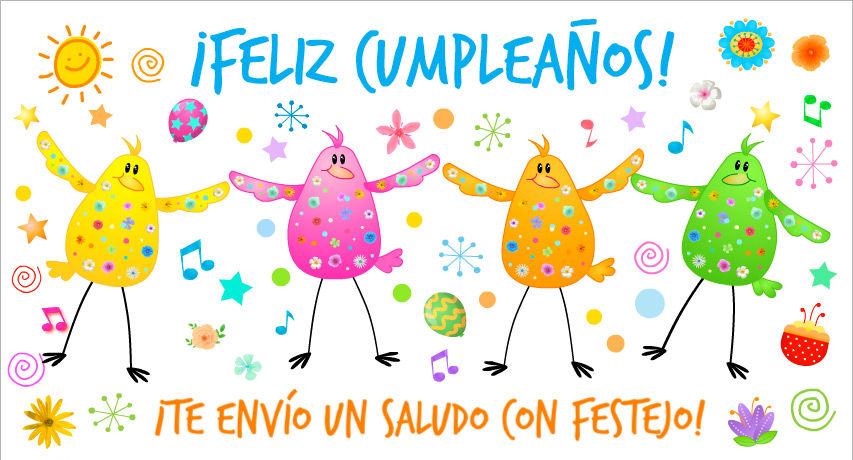 tarjetas de cumpleanos infantiles 3 te envio un saludo con festejo pajaritos